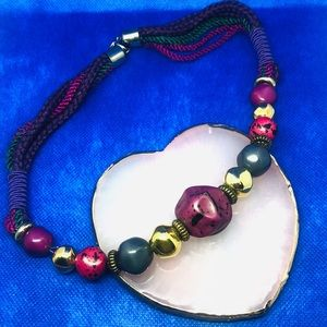 Jewel Tone rope collar necklace